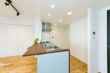 カウンターキッチン、塗装、天板、ステンレス、マンションリノベーション、リノベの一歩