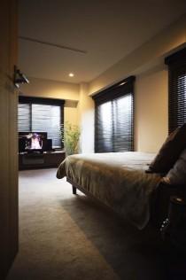 洗面室、動線、寝室、ベッド、TV、リノベーション、スタイル工房