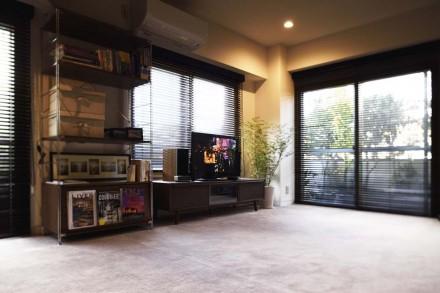 リビング、採光、2面窓、ダウンライト、TV、マンション、一人暮らし、シングル、リノベーション