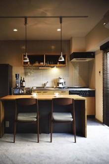 キッチン、タイル、壁、オープン棚、ダイニング、マンション、リノベーション、スタイル工房