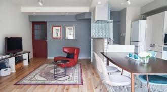 LDK、主居室、壁塗装、カラー、アクセント、マンション、リノベーション、インテリックス