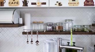 キッチン、タイル壁、飾り棚、カフェ風、マンション、リノベーション、リフォーム、インテリックス