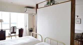 ベッド、寝室、独立壁、間仕切り、素通し、欄間、マンション、インテリックス空間設計