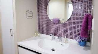 モザイクタイル、壁、洗面室、洗濯機、収納棚、バスルーム、脱衣所、インテリックス