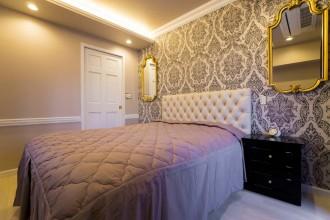 寝室、ベッドルーム、コーブ照明、モールディング、チェアレール、QUALIA、クオリア