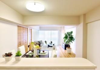 キッチン、リビングダイニング、対面式、開放的、マンション、リノベーション、リフォーム