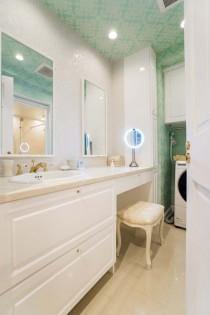 洗面、化粧台、ドレッサー、カウンタースペース、メイク、壁紙、QUALIA、クオリア