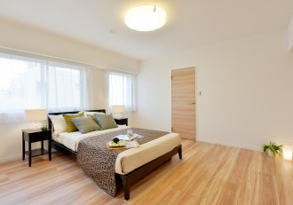 寝室、ウォークインクローゼット、WIC、収納、ベッド、リノステージ