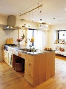 キッチン、流木、吊るし、ディスプレイ、収納、アズ建設