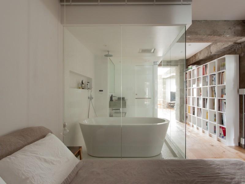 寝室、ベッド、ロールスクリーン、バスルーム、マンション、リノベーション、エコデコ