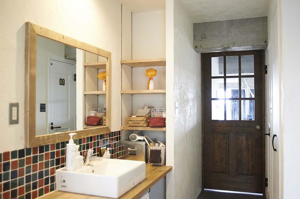 廊下、洗面、化粧台、タイル、リノまま、東京テアトル