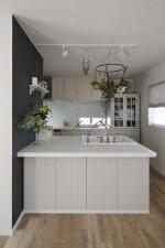 キッチン、水栓、ペイント、リノベーション、戸建、フレンチシック、シャビーシック