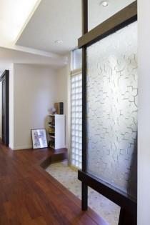 玄関ホール、玄関、エントランス、スクリーン、ガラスブロック、リノベーション
