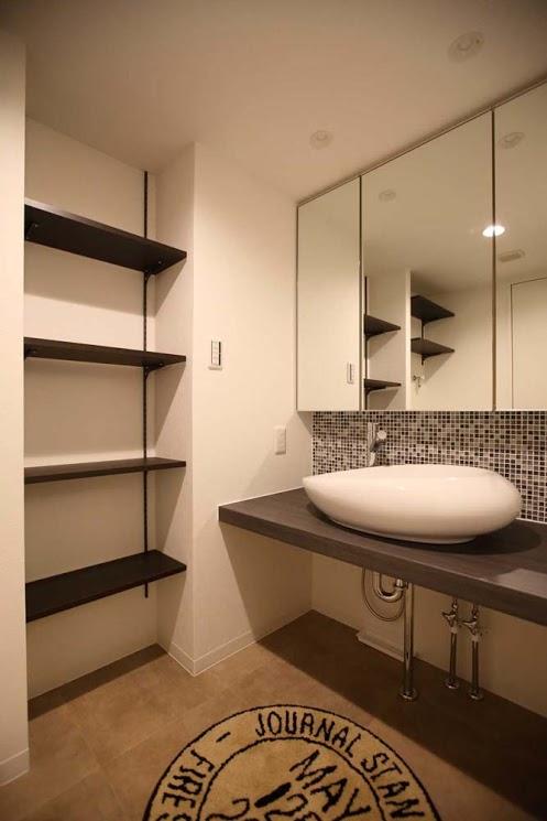 洗面所、脱衣所、サニタリールーム、洗面ボウル、シンプル、リノベーション 、バスルーム