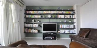 飾り棚、可動棚、壁面収納、リノベーション、リビングデコレーション