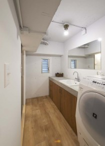洗面台、サニタリールーム、バスルーム、脱衣所、モルタル、リノベーション