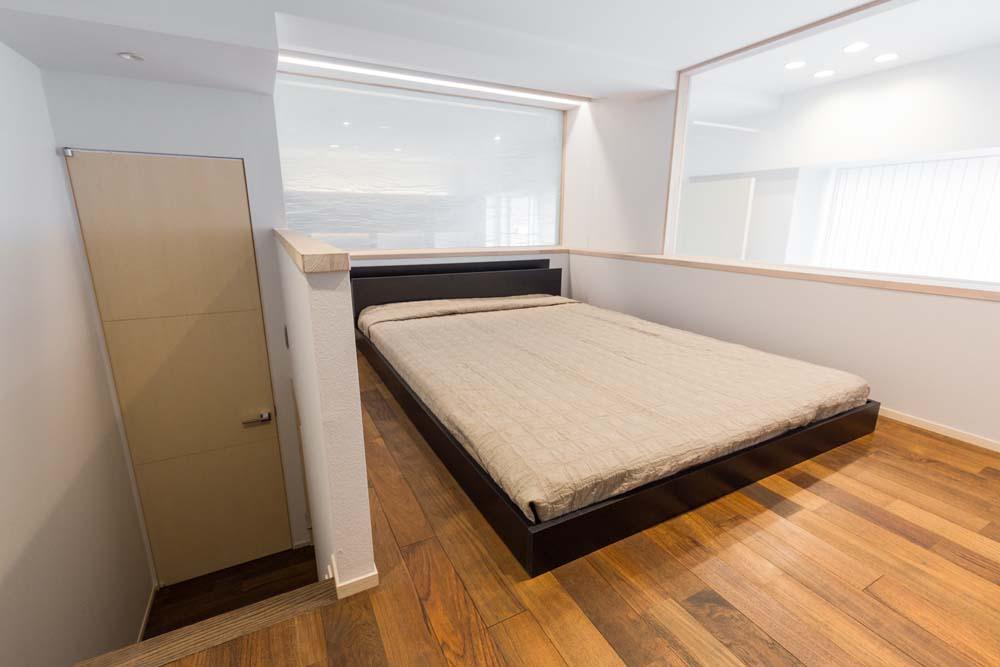 寝室、ベッドルーム、室内窓、ロフト、リノベーション、D-LINE