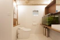 サニタリールーム、脱衣所、トイレ、アクアリウム、洗面所、洗面台、リノベーション