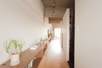 廊下、造作棚、リノベーション、ecodeco、シンプル、モダン