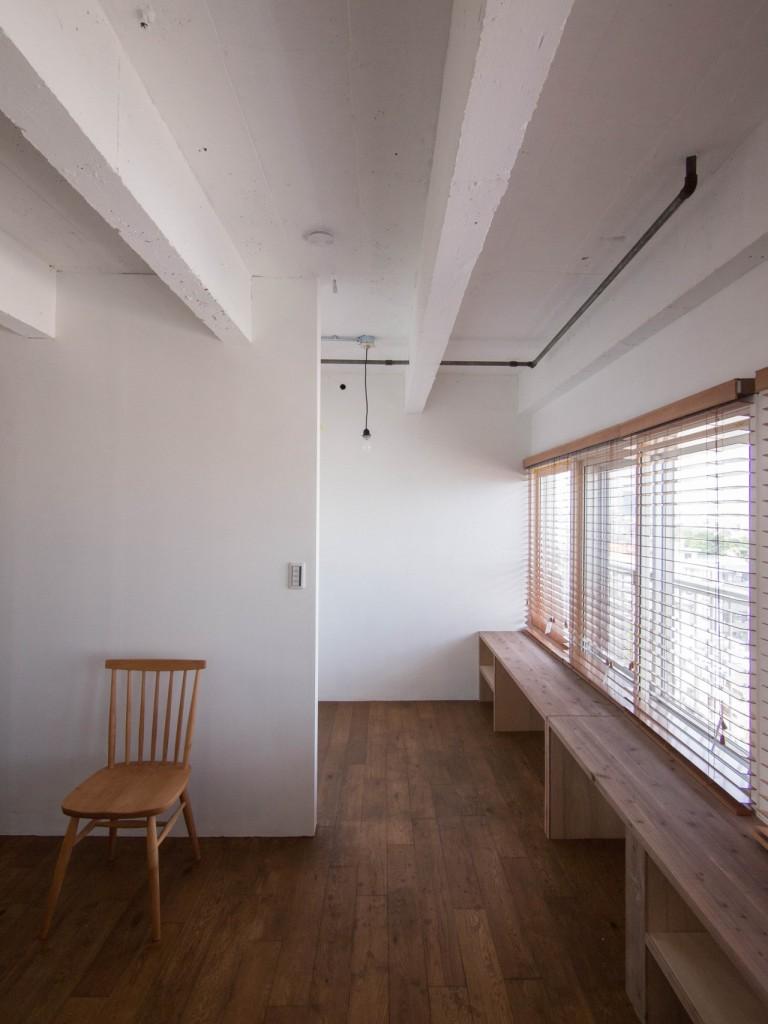 ベッドルーム、寝室、リノベーション、アンティーク、造作家具、書斎、スタディスペース