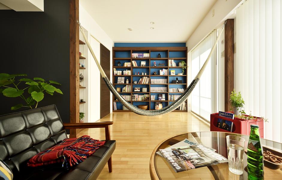ハンモック、付け柱、黒板塗装、アクセントクロス、本棚、飾り棚、オーダーメイド、リノベーション、ロハススタジオ