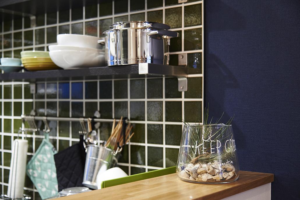 キッチン、美濃古窯、タイル壁、リノベーション、リノまま