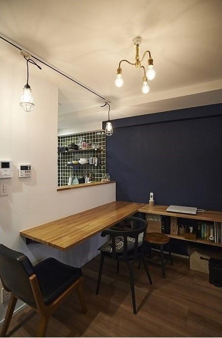 キッチンカウンター、スタディスペース、ワークスペース、収納、リノベーション、リノまま