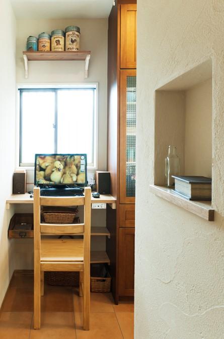 キッチン、スタディスペース、ナチュラル、カントリー調、無垢材、トラスト、戸建リノベーション
