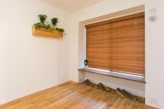 寝室、無垢フローリング、ナチュラル、マンションリノベーション、リノベーション、自然素材、無垢ブラインド