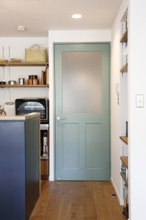 アンティーク、カフェ風、造作ドア、リビング、キッチン、リノベーション