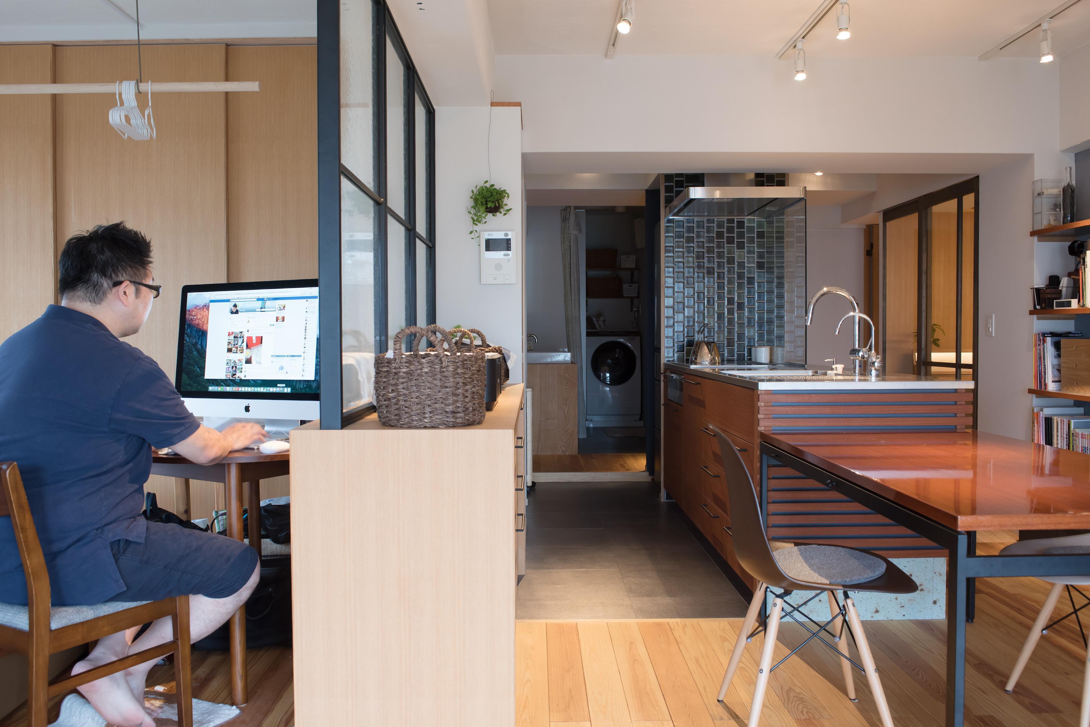 リビング、スタディスペース、書斎、リノベーション、マンションリノベーション、ハンズデザイン一級建築士事務所