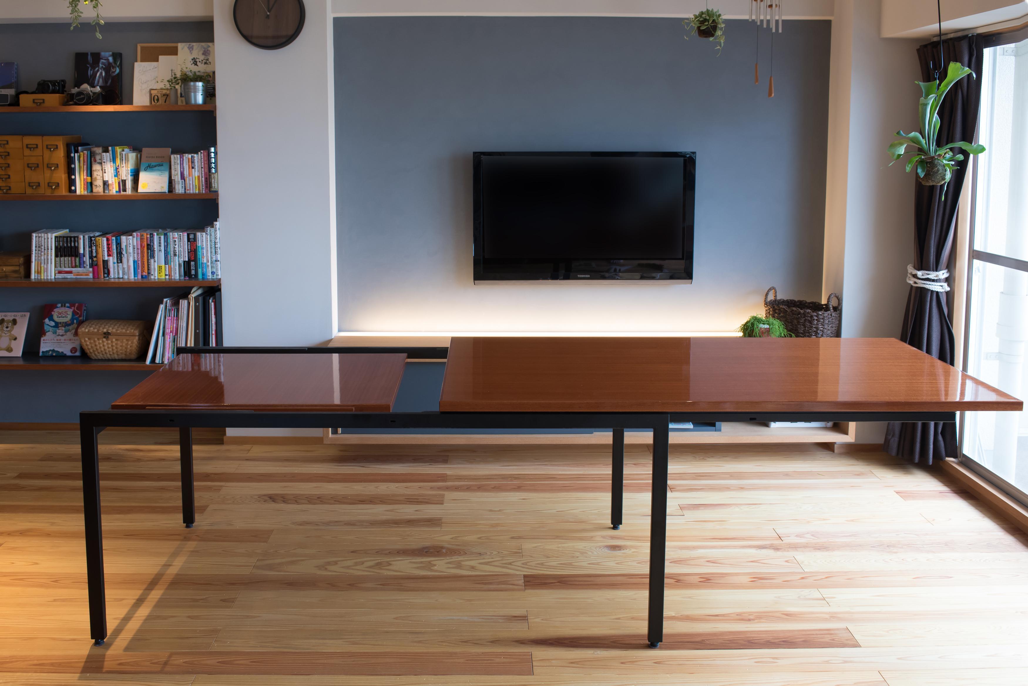 オリジナル家具、エクステンションテーブル、リノベーション、マンションリノベーション、ハンズデザイン一級建築士事務所、リビング