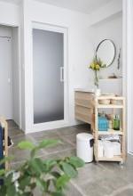 土間、水回り、タイル床、洗濯室、ランドリー、脱衣所、洗面室、リノベーション、インテリックス空間設計