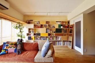 壁面収納、オーダー家具、リビング、フローリング、リノベーション、スタイル工房