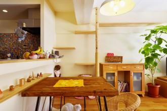 キャットウォーク、キャットタワーオーダー家具、リビング、フローリング、リノベーション、スタイル工房