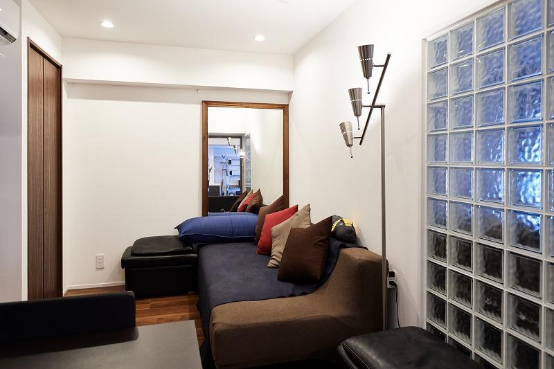 リノベーション、リビングルーム、ガラスブロック、書斎、中古マンション、インテリックス空間設計