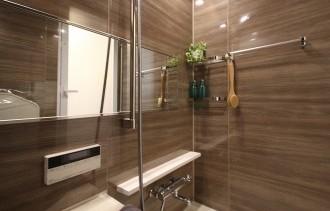 お風呂、ユニットバス、木目柄、ワイドミラー、リノベーション、リノステージ