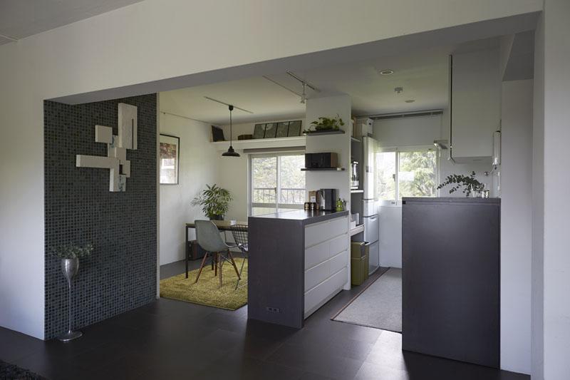 間仕切り建具、可変建具、キッチン、タイル壁、リノベーション、三井のリフォーム