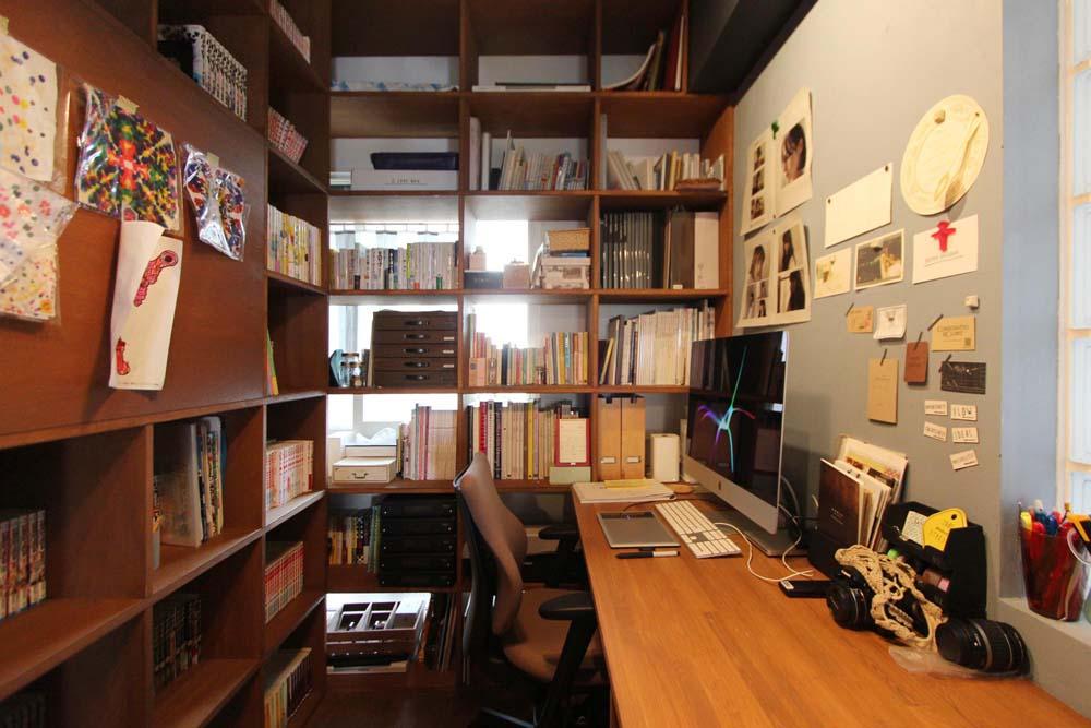 中古でリノベ、リノベーション、ヴィンテージ感、リビングルーム、ワンルーム、書斎、スタディスペース