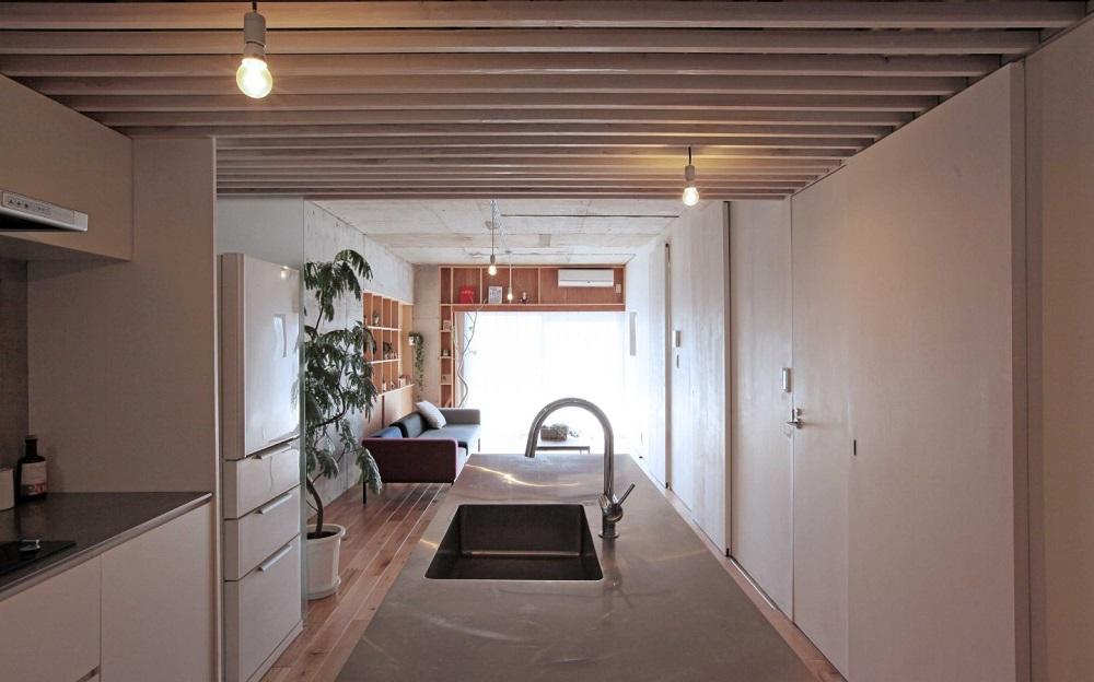 Tsudou Design Studio(ツドウデザインスタジオ)、団地リノベ、リノベーション、リビング、カウンターキッチン、ステンレスキッチン