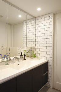 M・DESIGN タイル壁 洗面所、水まわり、既存利用、リノベーション