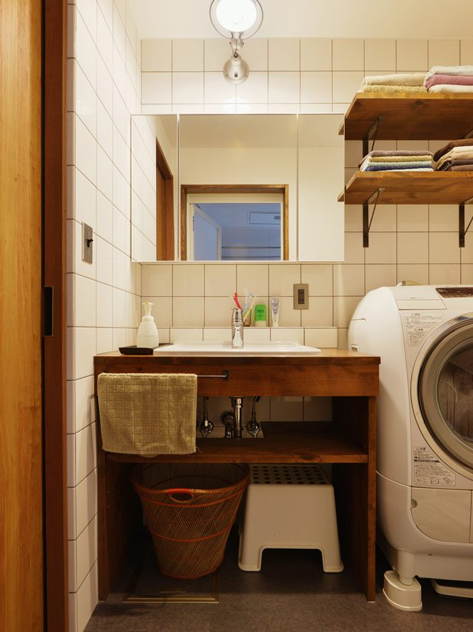 洗面、脱衣室、化粧台、アンダー材、オープン棚、スタイル工房