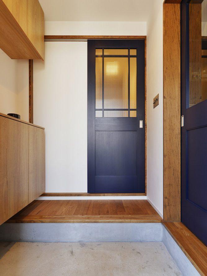玄関、ホール、チェッカカーガラス、スタイル工房、リノベション