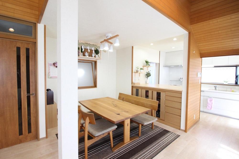 湘南リフォーム ダイニング オリジナル家具 無垢 フローリング