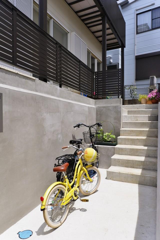 夢工房、基礎、コンクリート、階段、自転車、アプローチ、玄関口