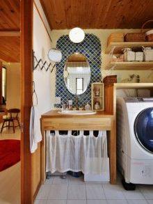 夢工房、リノベーション、洗面台、タイル壁、ランタンタイプ