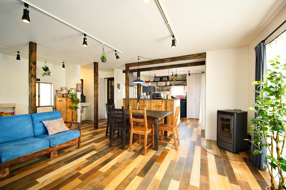 和室、キッチン、梁、DIY、塗装、床、オークミックス、スタイル工房