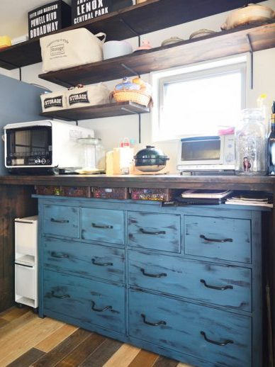 キッチン、カウンター、棚、DIY、スタイル工房
