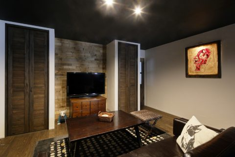 戸建リノベ、ロハススタジオ、ヴィンテージテイスト、リビング収納、アメリカンスタイル