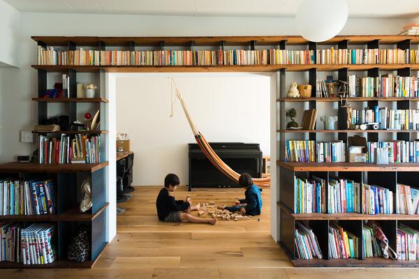 団地リノベ、トラスト、リノベーション、造作本棚、ライブラリースペース、子供部屋